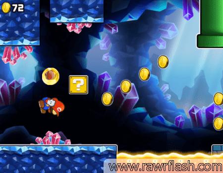 O Mario vai sair correndo pela fase até passar, ele vai ir pulando para passar dos obstáculos.. Então desvie de tudo rapidamente e colete as moedas!