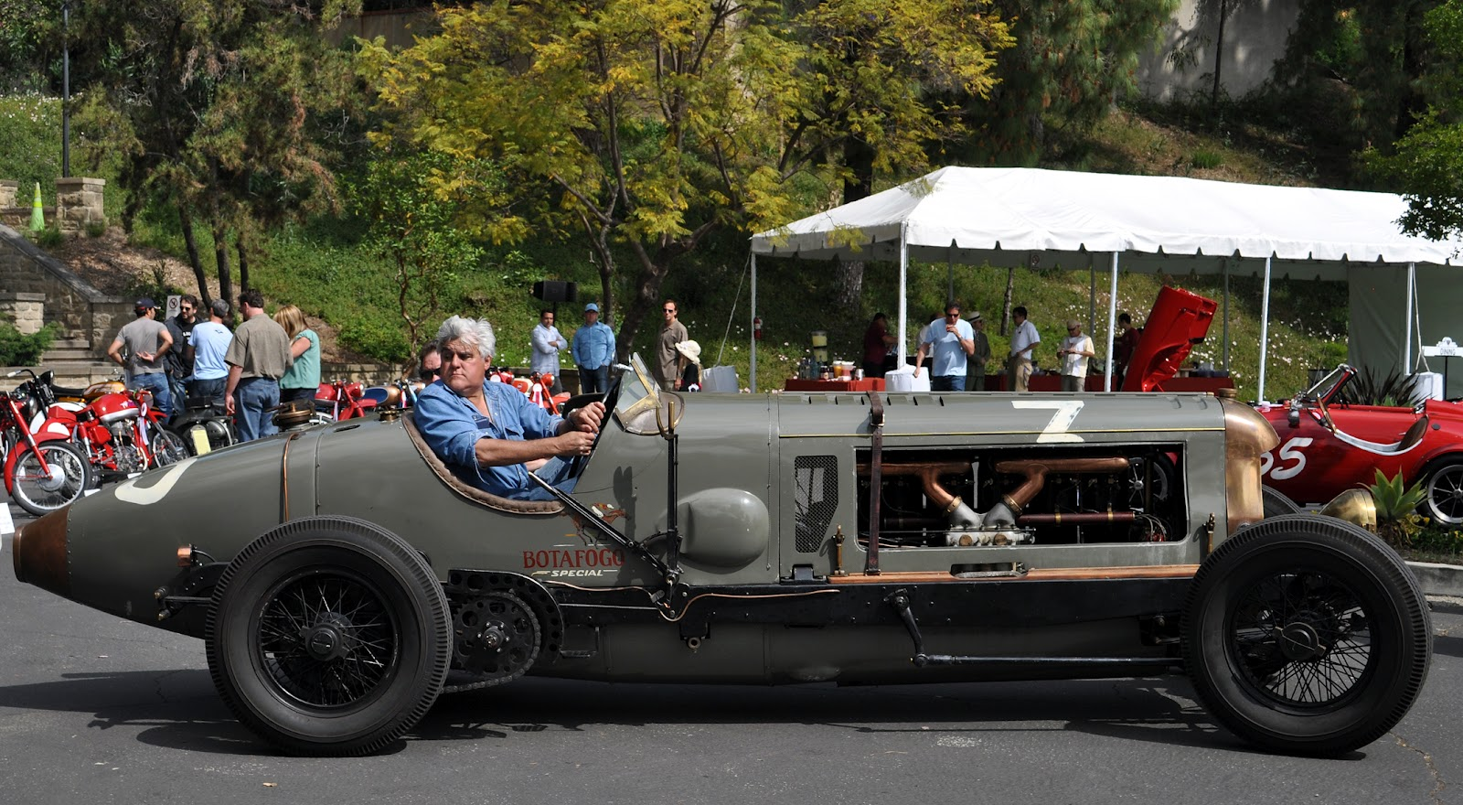 Jay Leno brought his awe inspiring 1917 race car, the Botafogo Special,  powered by a Fiat A12, 21.7 liter engine, to the Graystone Mansion concours!