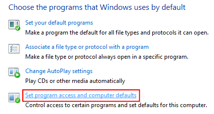 Default Programs Options