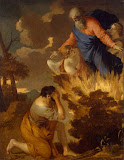 Moses and the Burning Bush by Sebastien Bourdon - Religious Painting from Hermitage Museum