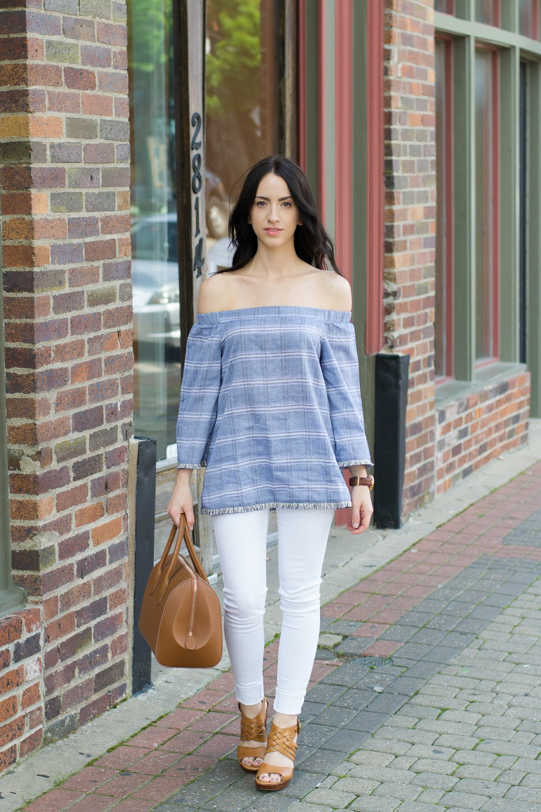 Chambray off the shoulder top with fringe sleeve detail, paired with white jeans and platform sandals