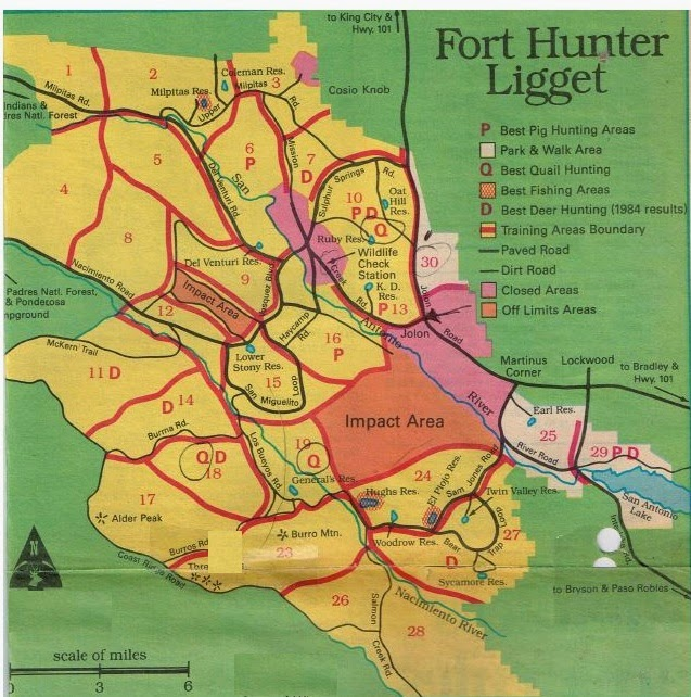 where to hunt at fort hunter ligget, how to fish fort hunter liggett