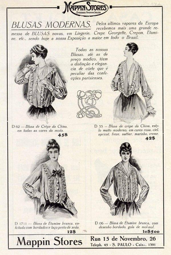 Propaganda antiga da Mappin apresentando blusas modernas em 1916