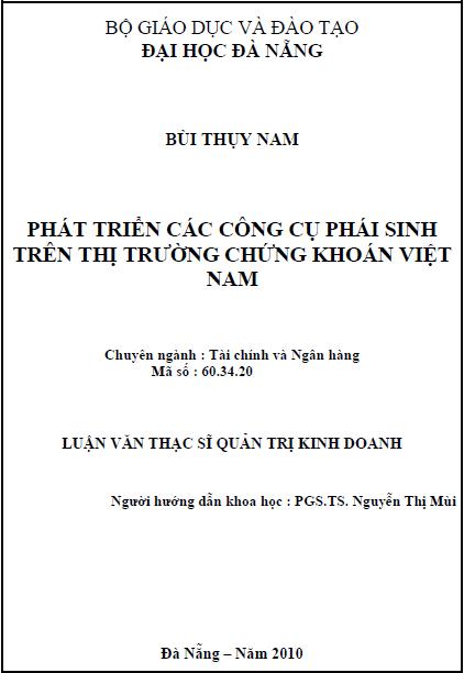 Phát triển các công cụ phái sinh trên thị trường chứng khoán Việt Nam