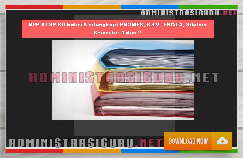 RPP KTSP SD kelas 3 dilengkapi PROMES, KKM, PROTA, Silabus Semester 1 dan 2