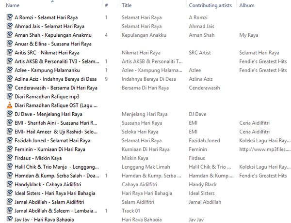 Download 1 Folder Himpunan Lagu Raya Baru & Lama Aidilfitri. Versi Quality Best