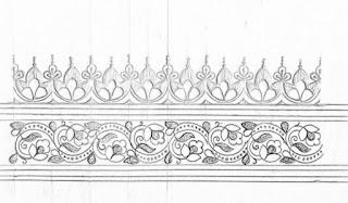 Saree ka kinara drawing for hand emroidery design and machine embroidery saree design.pencil sketch of the saree border design on paper