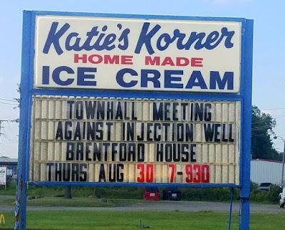 notice on ice cream sign for mtg 7pm-9:30pm, August 30, 2018 Brentford House, 737 Myron Street, Hubbard, Ohio, 44425