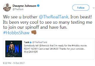 The Rock ignores Tyrese's rants at him but responds to Tank in regards to his movie The Hobbs