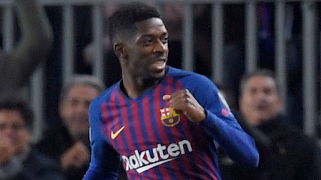 FC Barcelona's Ousmane Dembele scores against Tottenham Hotspur