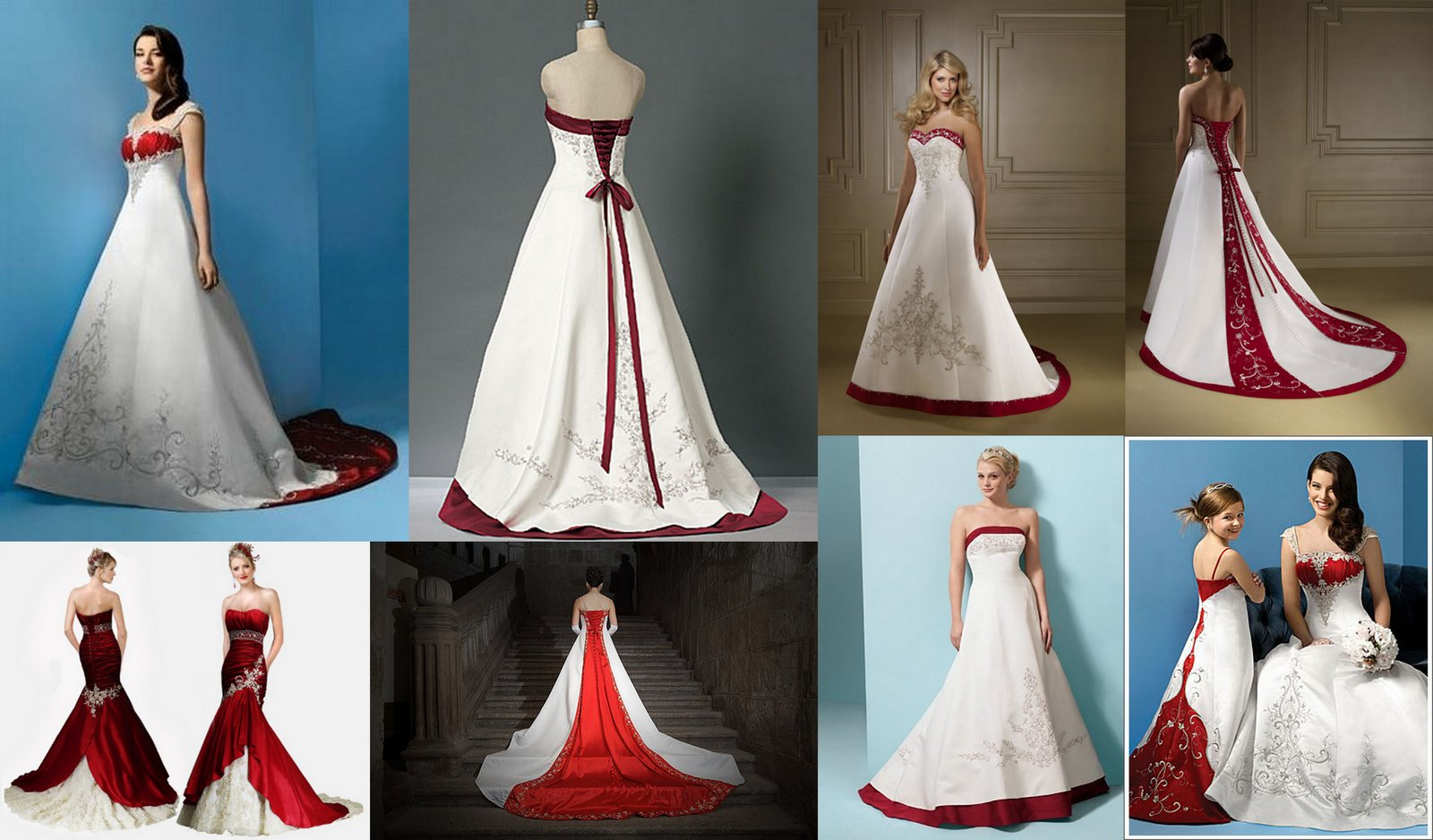 White With Red Wedding Dresses In Mosaic View