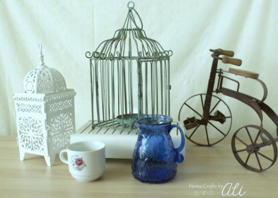 home decor pieces, vintage items, kitchenware from Deseret Industries thrift store