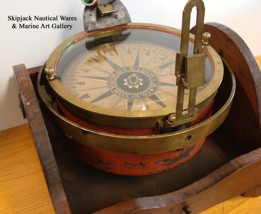 Maritime Compasses Modest Antique Maritime Brass Compass With Clock In Wooden Box Vintage Nautical Decor