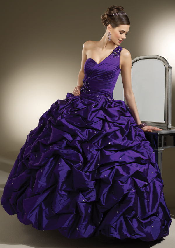 Dark Purple Wedding Gowns One Shoulder