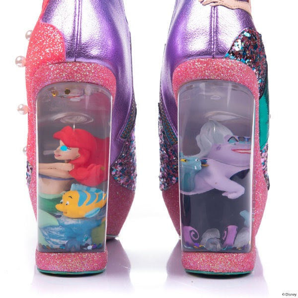 back view of water globe heels on shoes with little mermaid characters