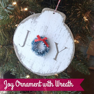 Mini wreaths are the special touch on these JOY handmade ornaments