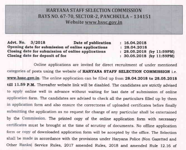Haryana Police SI/ Constable Exam 2018 For 7110 Posts