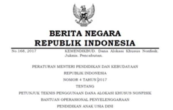 Unduh Permendikbud no.4 tahun 2017 tentang juknis DAK BOP PAUD