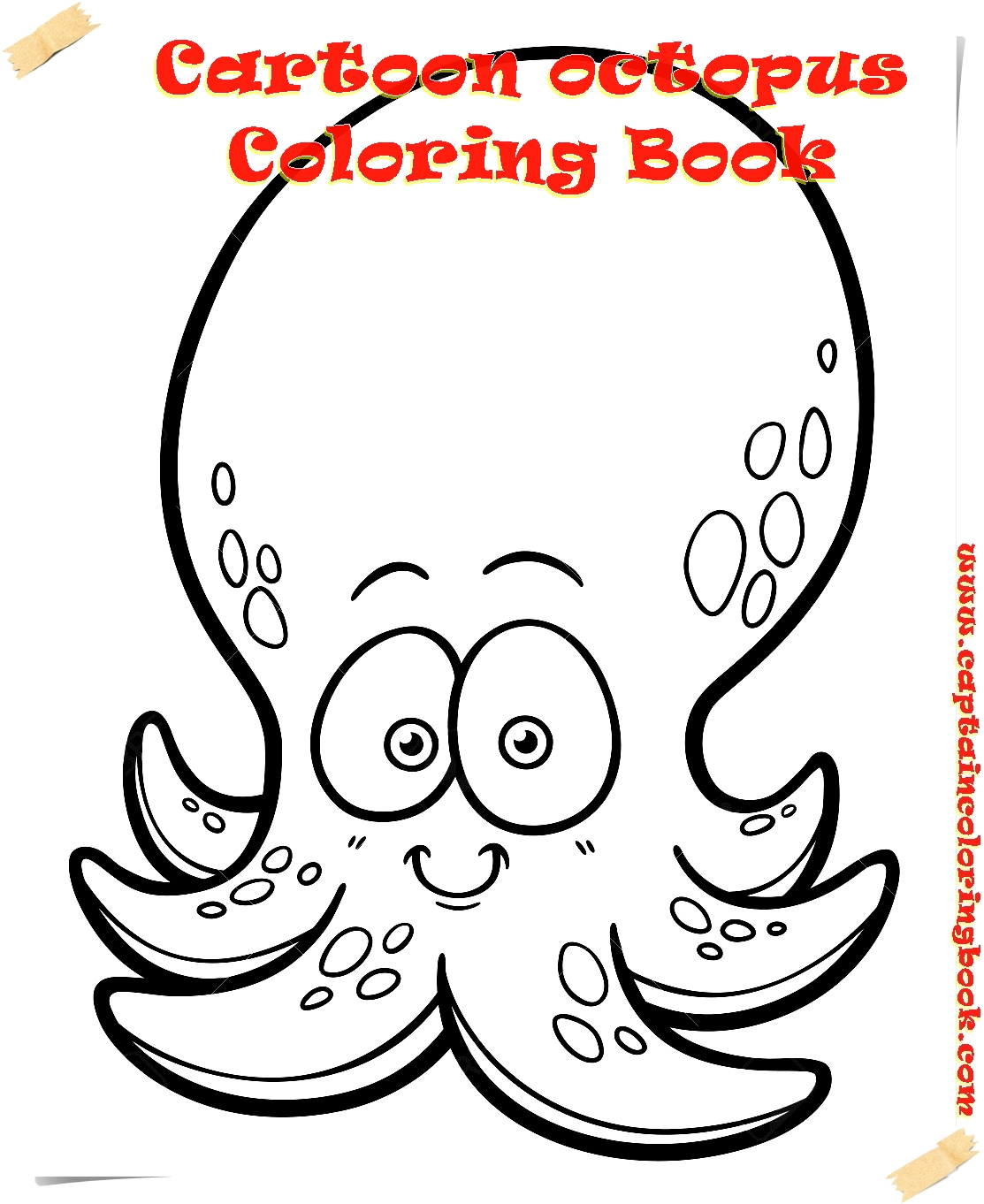 Cartoon octopus - Coloring book free printable - Coloring Page
