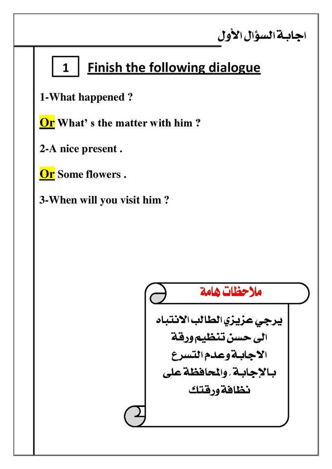 كيف تنظم ورقة اجابتك في امتحان اللغة الانجليزية ؟ ..   Mr-Saber Elboshy  2