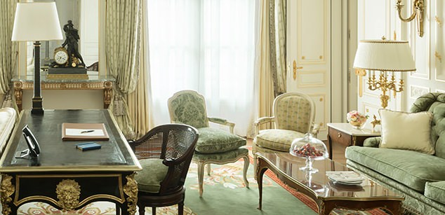 Breathtaking feminine romantic suite interior renovated Ritz Paris
