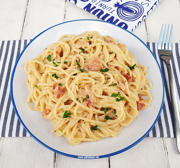 Quick, easy delicious pasta dinner (with Bacon and TWO cheeses!)