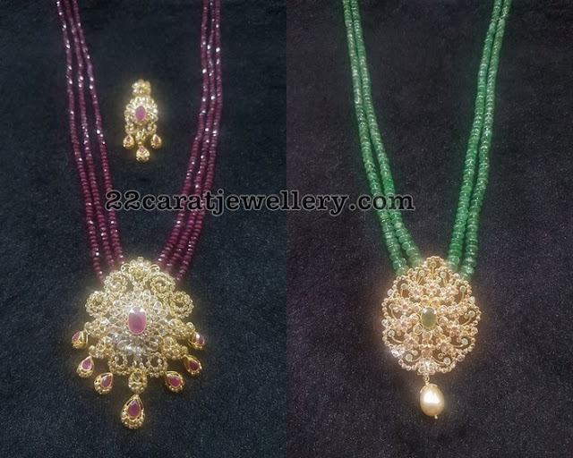 Ruby Beads Set with Uncut Diamond Pendant