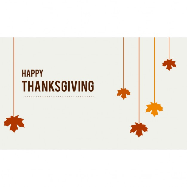 Happy thanksgiving hanging leaves Free Vector