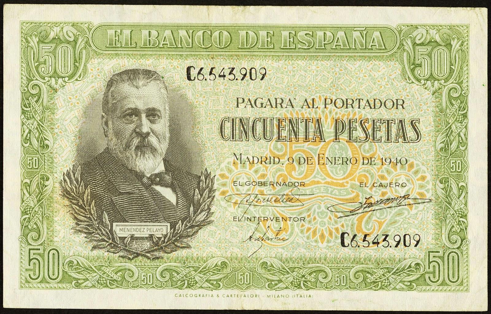 Spain Banknotes 50 Pesetas banknote 1940 Marcelino Menéndez y Pelayo