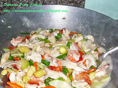 Oyster Mushroom and Vegetables Stirfry - Cooking Procedure