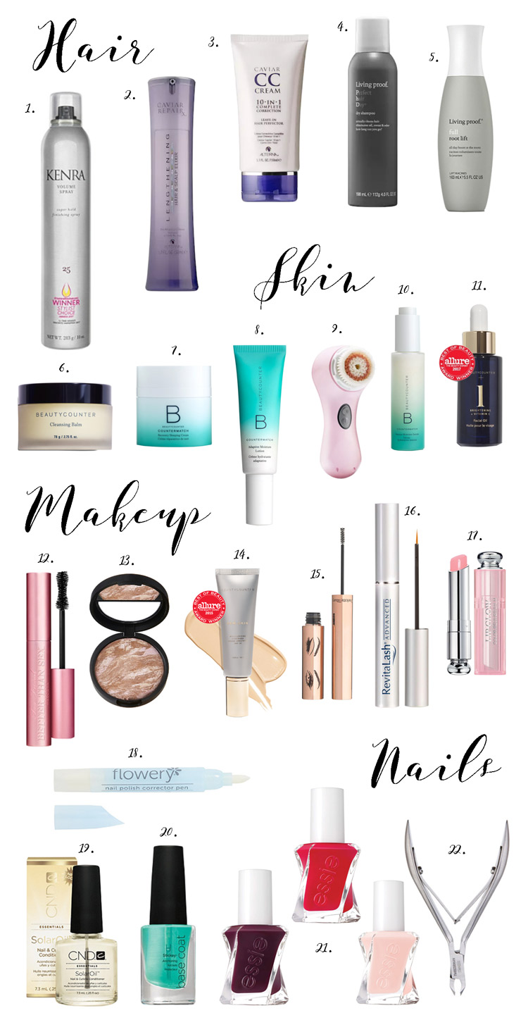 hair, skin, makeup and nail beauty products