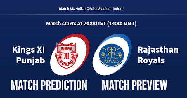IPL 2018 Match 38 KXIP vs RR Match Prediction, Preview and Head to Head Who Will Win