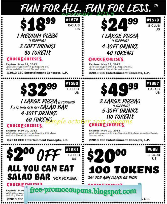 Chuck e cheese printable coupons october 2018