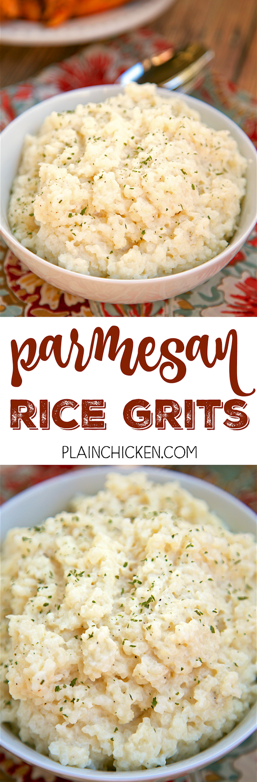 "Parmesan Rice Grits - SO easy and delicious! Rice grits, chicken broth, half and half, butter, parmesan cheese and rosemary. Dump everything in the pot, cook then stir in cheese and rosemary. SO good and creamy. My husband took one bite and said ""This is really, really good! Can we have them again tomorrow?"""