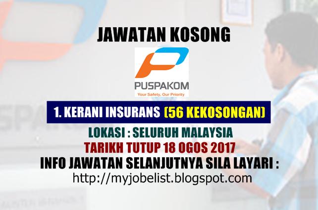 Jawatan Kosong Sebagai Kerani di PUSPAKOM Sdn Bhd - 18 Ogos 2017
