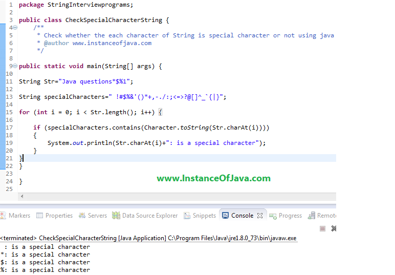 Check Special Character String java