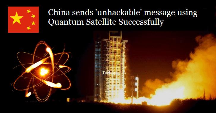 China sends 'unhackable' message using quantum satellite