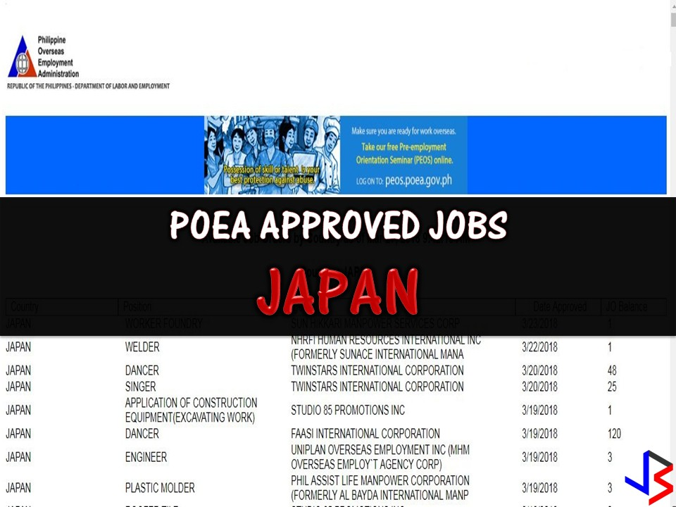 Are you looking for jobs abroad? Why don't you consider working in Japan? This latest job orders are taken from employment site of Philippine Overseas Employment Administration. There are many companies in Japan who wants to hire Filipino workers and continuously hiring Filipino workers every month.     International employment opportunities in Japan are open for welders, engineers, plastic molder, tile roofer, scaffolder, carpenter, plasterer, teacher, farmer, baker etc..