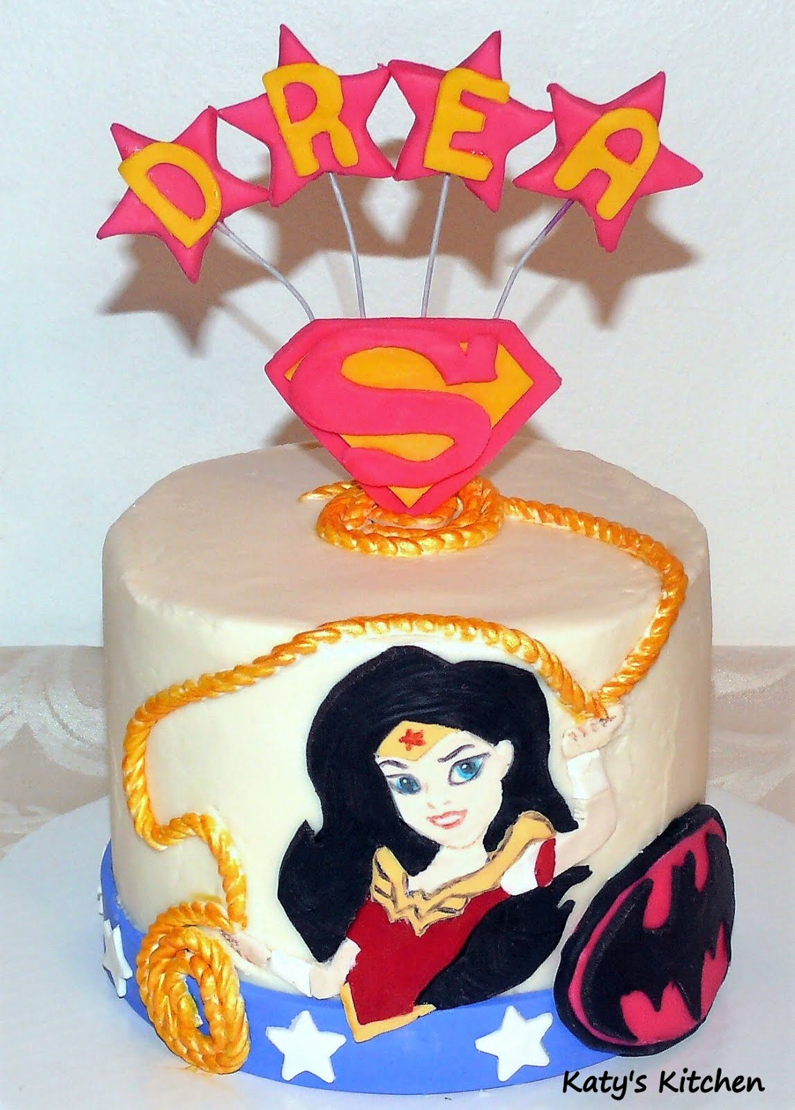 Strange Katys Kitchen Dc Superhero Girls Cake Featuring Wonder Woman Funny Birthday Cards Online Elaedamsfinfo