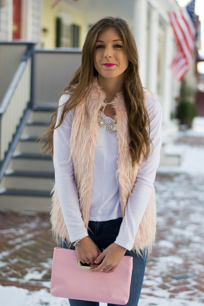 Pink faux fur for Valentine's Day