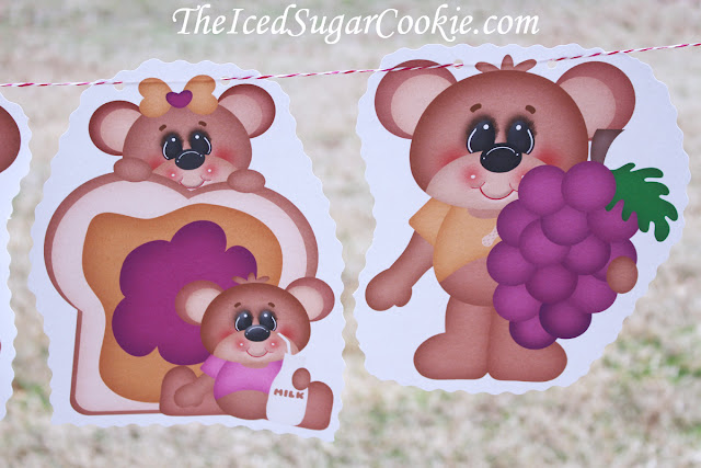 Peanut Butter And Jelly Sandwich DIY Birthday Party-Teddy Bear Picnic Birthday Party Banner Flag Bunting Garland