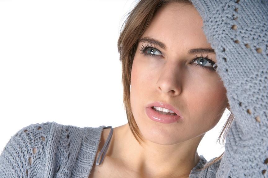 beautiful woman in gray sweater