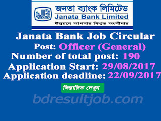 Janata Bank Limited(JBL) Officer (General) Job Circular 2017