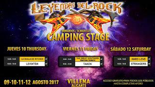 Leyendas del Rock, Horarios Camping Stage