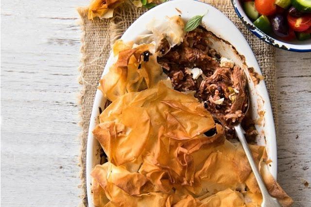 yet the delicate filo pastry keeps it light Kefalonian lamb pie recipe