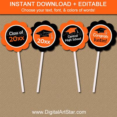 printable graduation cupcake toppers - editable PDF - black & orange