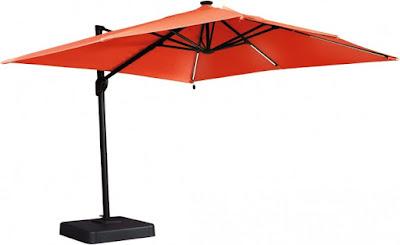 square orange outdoor cantilever umbrella