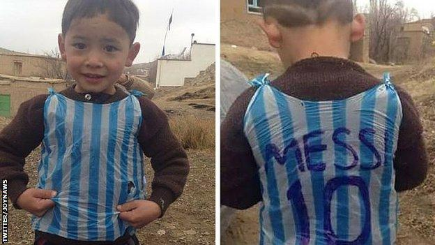Video: Lionel Messi: Barcelona forward meets Afghan boy who became viral star