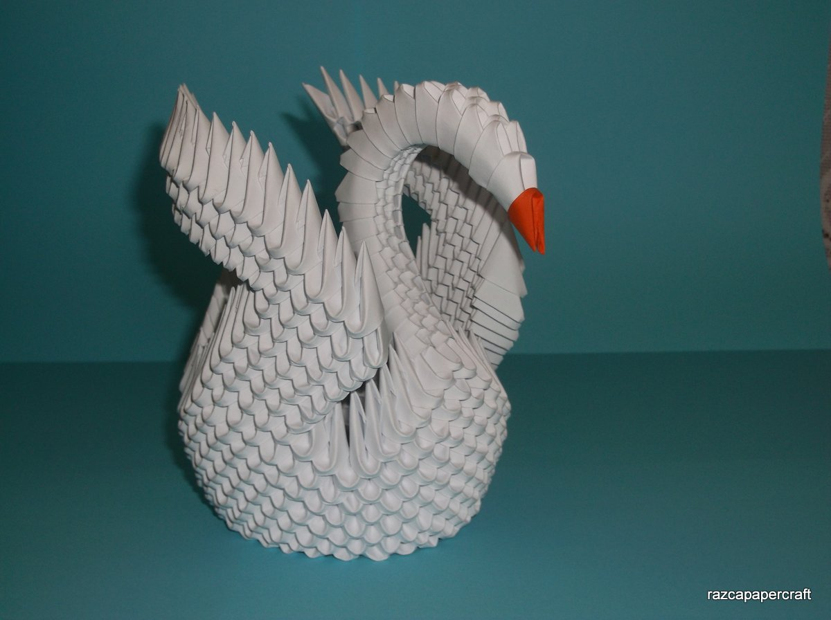 Razcapapercraft: HOW TO MAKE 3D ORIGAMI SWAN (MODEL3) - photo#43