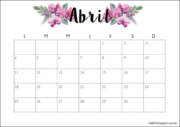 Imprimible gratuito: calendario para abril 2016